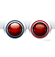 Two red glossy buttons vector image vector image