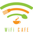 wi-fi cafe simple with cup of coffeespoon and fork vector image vector image