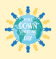 world down syndrome day children around map vector image vector image