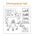 Coloring page for kids during lesson vector image