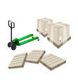 A Pallet Truck Loading A Shipping Box vector image vector image