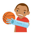 a young boy playing basketball with the robot arm vector image vector image