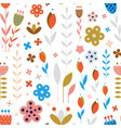 abstract meadow flowers on white seamless pattern vector image