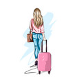 beautiful young woman with suitcase stylish girl vector image