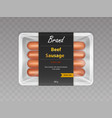 beef sausages in sealed packaging realistic vector image