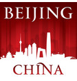 beijing china city skyline silhouette red vector image vector image
