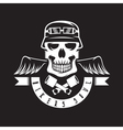 biker theme label with pistons wings and skulls vector image