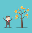 businessman and money tree vector image vector image