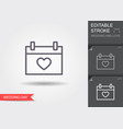 calendar with heart icon line icon with editable vector image vector image