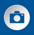 camera - simple blue icon on white button vector image