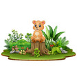 cartoon happy bear sitting on tree stump with gree vector image vector image
