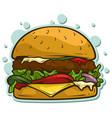 cartoon tasty big hamburger sticker icon vector image vector image