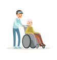 cheerful teen boy pushing old man on wheelchair vector image