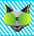 cool cat in pop art style vector image vector image