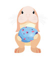 cute rabbit and egg easter vector image vector image