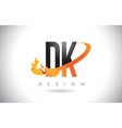 dk d k letter logo with fire flames design and vector image vector image