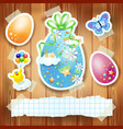 easter background with paper elements and copy vector image vector image