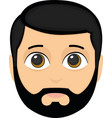 face an adult with a beard vector image vector image