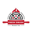 fresh dough pizza logo with red rolling pin vector image vector image