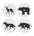 hunting animal targets icons template vector image