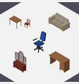 isometric furnishing set of drawer couch chair vector image