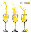 juice orange and apple splashes in wine glasses vector image vector image