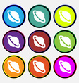 Jupiter planet icon sign Nine multi-colored round vector image