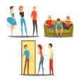 male friends spending time together guys playing vector image vector image