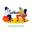 man and woman freelancers characters sitting vector image