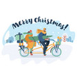 merry christmas card couple riding a tandem bike vector image vector image