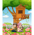 Muslim couple reading books in the park vector image vector image