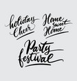 party festival and holiday cheer handwriting calli vector image