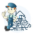 plumber and pipeline vector image vector image