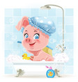 Pretty pink little piggy taking a bath with foam vector image vector image