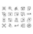 qa and bug fix icon set vector image vector image