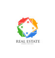 real estate group houses colorful houses in vector image vector image