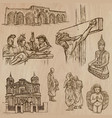 religion around the world - set hand drawn vector image vector image