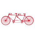 retro red silhouette tandem bicycle isolated vector image