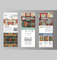 roll up banner stands abstract design geometric vector image