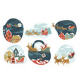 santa claus riding on sledges giving presents for vector image vector image