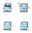 set of tablet character with cool waving crying vector image vector image