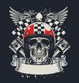 skull biker in t-shirt style design vector image