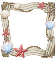 watercolor driftwood frame with starfishes vector image
