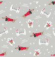 winter seamless pattern with cute cats dogs and vector image