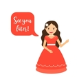Cartoon princess with speech bubble vector image