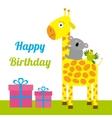 Happy Birthday card with cute giraffe koala and vector image