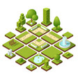 isometric urban elements and garden decoration vector image