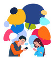 young boy and girl messaging holding cell smart vector image