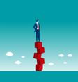 businessman balancing on red box vector image