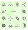 14 global icons vector image vector image